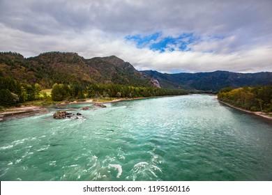 Clear river Katun, Altai, Russia
