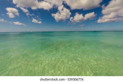 Clear sea in a Caribbean island