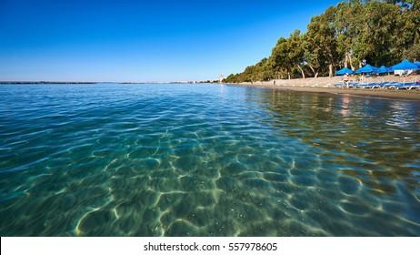 Clear sea water at Dasoudi beach in Limassol, Cyprus