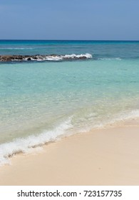 Clear sea and white sand beach in the Caribbean