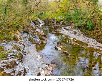 Clear, shallow water of the  River Mawddach, in Gwynedd, Wales, flows gently round and over rocks between tree lined banks.
