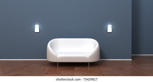 Clear and simple modern room interior with white sofa furniture. Empty blue wall to paste any frame picture there or to use as background.