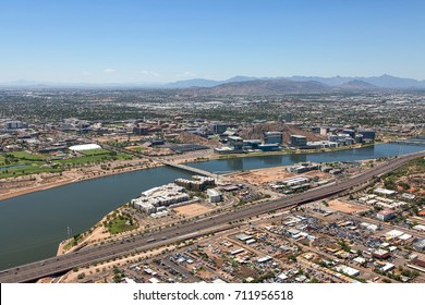 Clear skies over downtown Tempe, Arizona, the town lake and the campus of Arizona State University