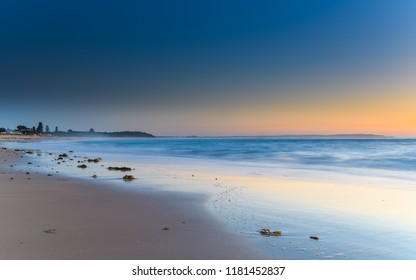 Clear Skies Sunrise Seascape - Hargraves Beach in Noraville on the Central Coast, NSW, Australia.