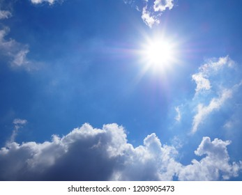clear sky blue cloudy and sunlight