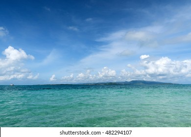 clear sky and emerald sea at Iriomote island