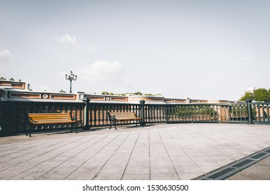 Clear Sky, Marble Square in front of Cast Iron Bars in Europ
