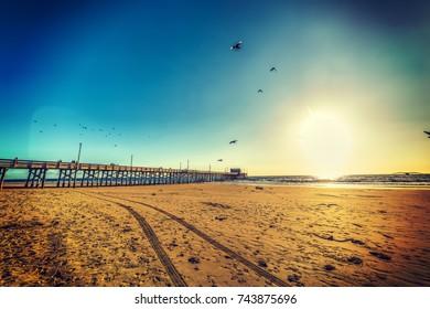 Clear sky over the beach at sunset. Newport Beach, California