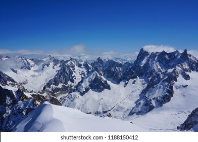 Clear sky view with beautiful snow mountains of alpine alps