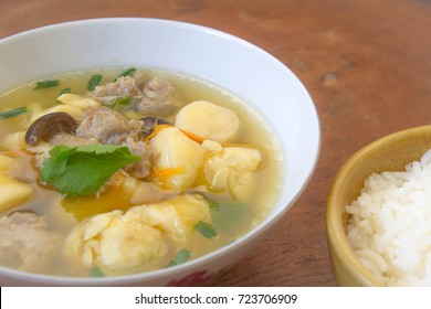 clear soup pork chops The pulley consists of egg and mushroom. Onion and celery Ideal as a light meal for the sick or recovering from a fever.
