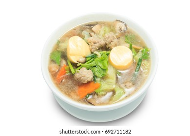 Clear Soup with Tofu and Minced Pork isolated on white background