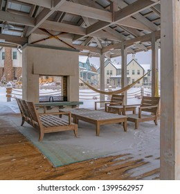 Clear Square Clubhouse patio with view of a snowy landscape