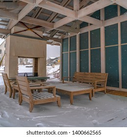 Clear Square Snow covered patio of a clubhouse in Daybreak Utah