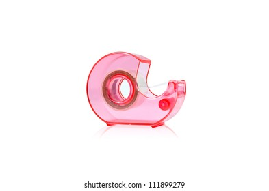 With clear tape, tape dispenser. Isolated on white.