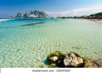 Clear turquoise waters of Mondello beach, Palermo, Sicily, Italy.
