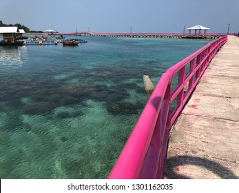 Clear underwater beach surrounded by pink bridge in Tidung Island, Thousand Island Jakarta Indonesia
