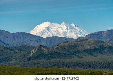 Clear unobstructed view of Mt Denali  -  (Mt McKinley) in Denali National Park. Completely clear view, sunny day in Alaska