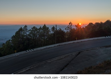 A clear view of the horizon from above the mountain cliff, just after sunset but before twilight, Inthanon viewpoint Chiangmai Thailand