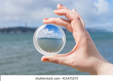 Clear view through contact lense at seaside