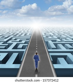 Clear vision leadership solutions and success concept as a businessman thinking outside the box and building a road bridge over a complicated maze cutting through the confusion with new thinking.