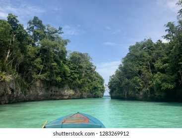 Clear water beach with white sand beach in Baer Island, Kei Island, Indonesia