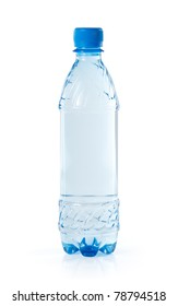 Clear water bottle isolated on white