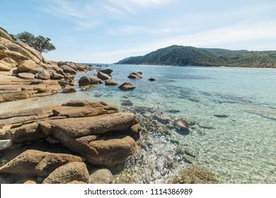 Clear water in Cala Pira beach in Villasimius. Sardinia, Italy