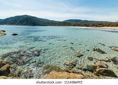 Clear water in Cala Pira beach, Villasimius. Sardinia, Italy