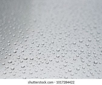 Clear water drops on light grey background. Shallow depth of field.