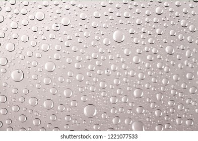 clear water drops transparent with light reflection on a colored background Gray