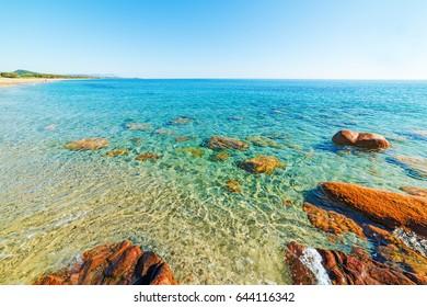 Clear water in Santa Maria Navarrese. Sardinia, Italy
