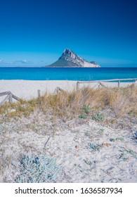 Clear water of sardinian beachs with view on Tavolara island
