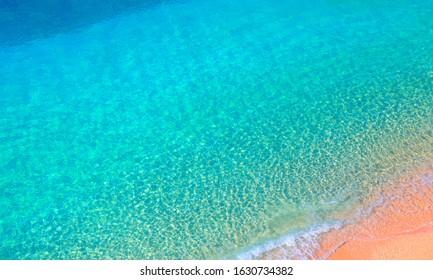 Clear water sea and orange sand beach -  Kaputas Beach, Mediterranean Sea, Antalya