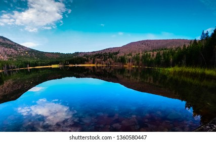 Clear water of the Sf Ana vulcanic lake withe the reflections of the skay and the forest in it