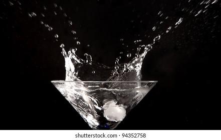 clear water splash on black background