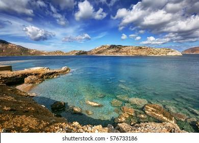 Clear waters of Agios Pavlos and Nikouria, Aegiali, in Amorgos island, Greece