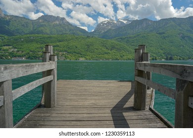 clear waters of Annecy lake from a dock