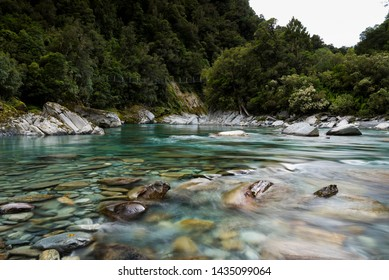 The clear waters of the Arahura River on the west coast of New Zealand