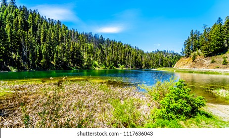 The clear waters of Taylor Lake along Highway 5A, the Kamloops-Princeton Highway, between the towns of Merritt and Princeton in British Columbia, Canada
