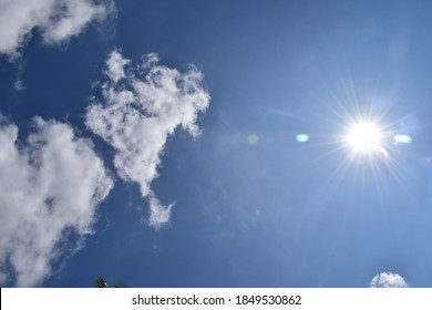 Clear white clouds with blue sky in sunny day (midday sun, direct view of sun, camera focus to capturing hot sun in the clear sky of Asian sky, star view on the mid day time ,  closeup view of sun ) - Shutterstock ID 1849530862