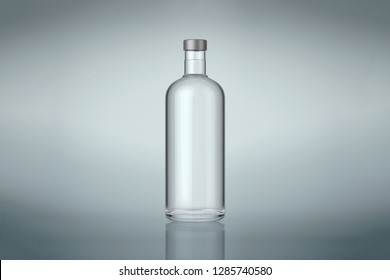 Clear wine or vodka bottle with silver cap. Isolated on gray background. Stock mock up. High resolution.