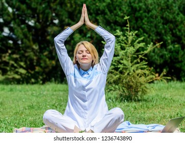 Clear your mind. Girl meditate on rug green grass meadow nature background. Woman relaxing practicing meditation. Every day meditation. Reasons you should meditate every day. Find minute to relax.