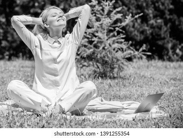 Clear your mind. Girl meditate on rug green grass meadow nature background. Find minute to relax. Woman relaxing practicing meditation. Every day meditation. Reasons you should meditate every day.