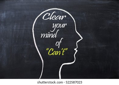 Clear your mind of Canâ??t on blackboard with human head shape