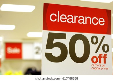 Clearance 50% off sign