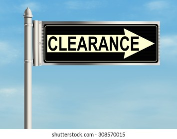 Clearance. Road sign on the sky background. Raster illustration.