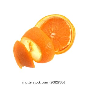 The cleared fresh orange on a white background.