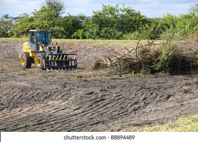 Clearing brush with a heavy loader for a retention pond area