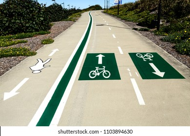 Clearly marked lanes design of pedestrian and bicycles sharing the roads in around Redcliffe Peninsula, Queensland, Australia