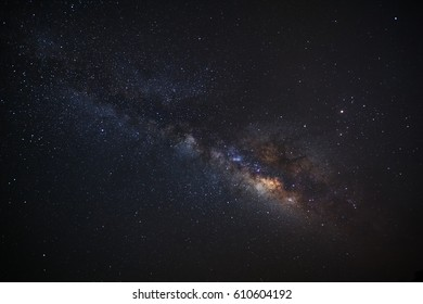 Clearly milky way galaxy at phitsanulok in thailand. Long exposure photograph.